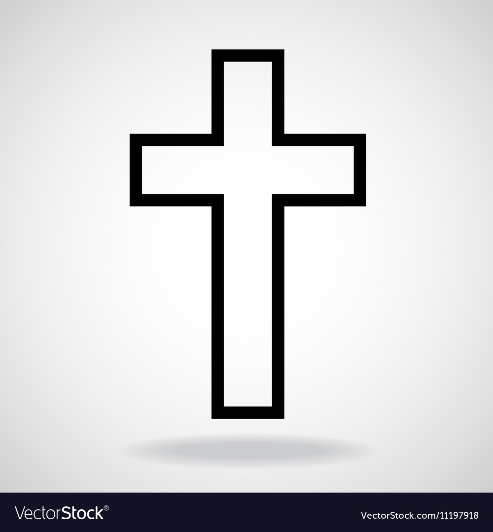 Cross painted brushes christian symbol abstract vector