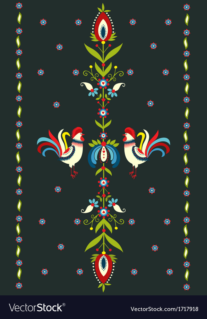 Embroidery pattern with roosters vector
