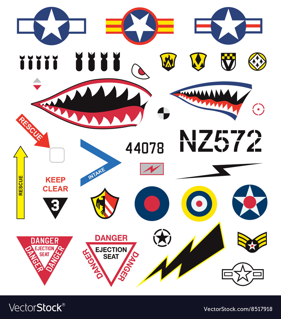 Fighter plane emblems and icons set vector