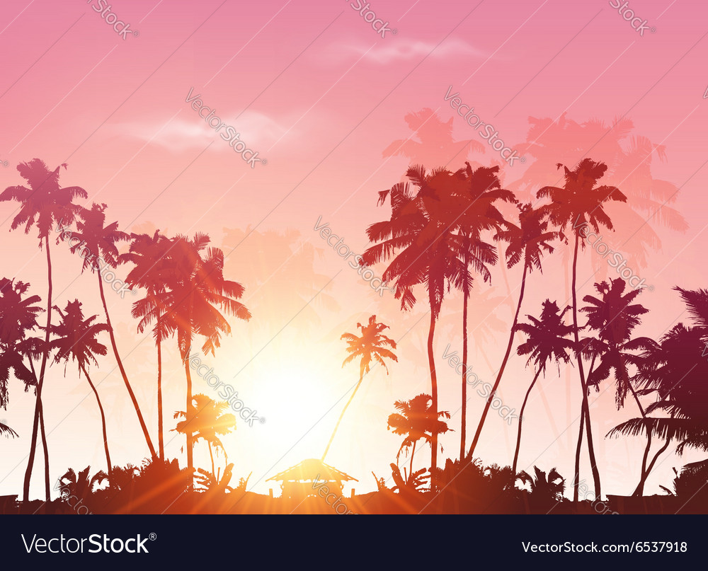 Palms silhouettes at pink sunset sky vector
