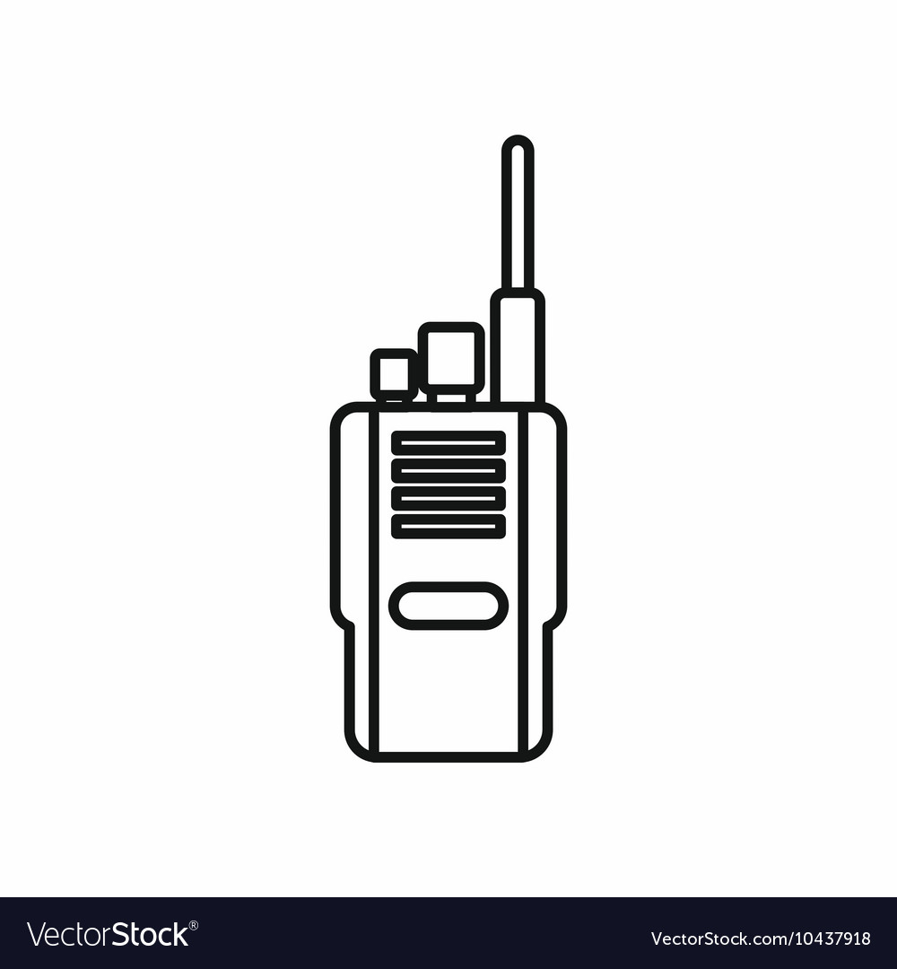 Portable radio transceiver icon outline style vector