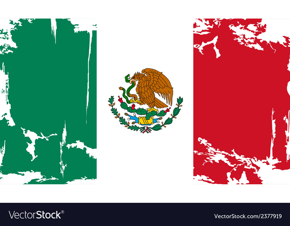 Mexican grunge flag vector