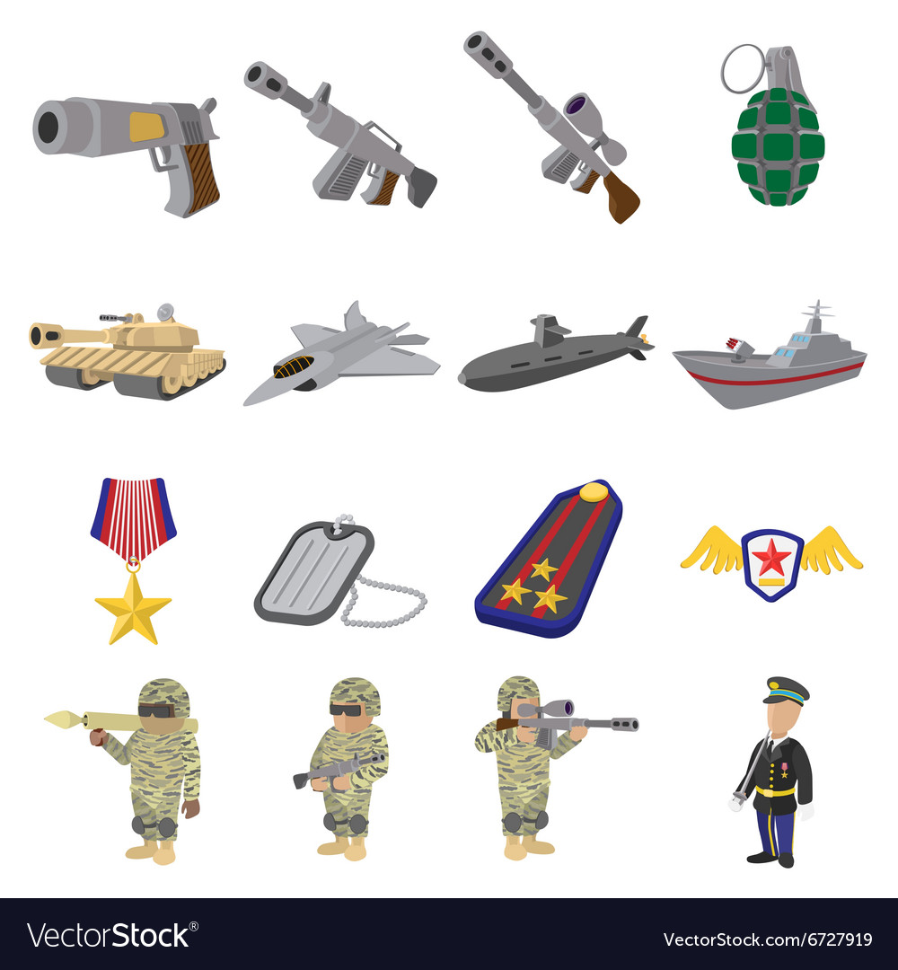 Military and war cartoon icons vector