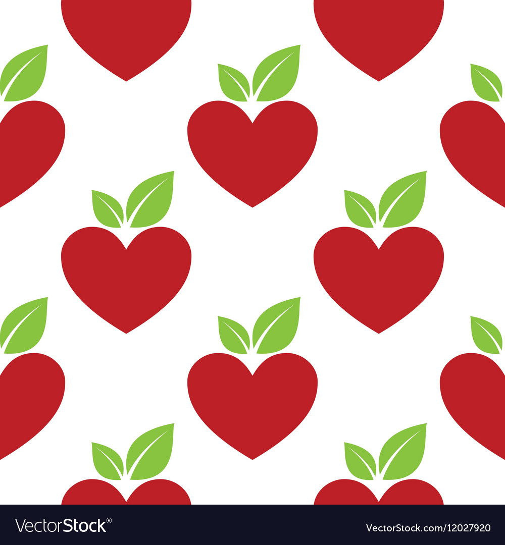 Red apple heart seamless vector