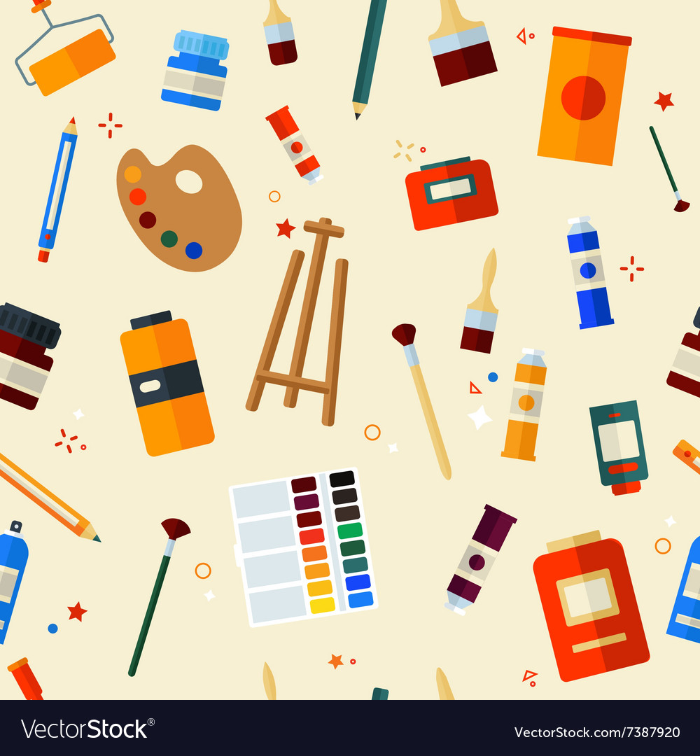 Tools and materials for painting seamless pattern vector