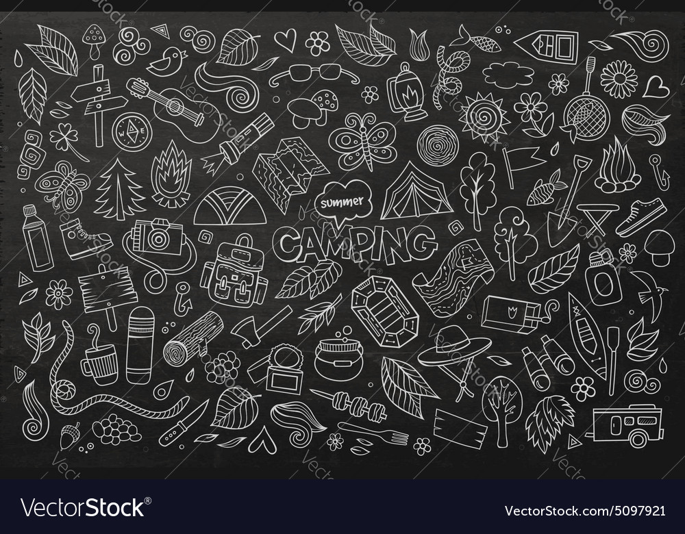 Camping nature symbols and objects vector