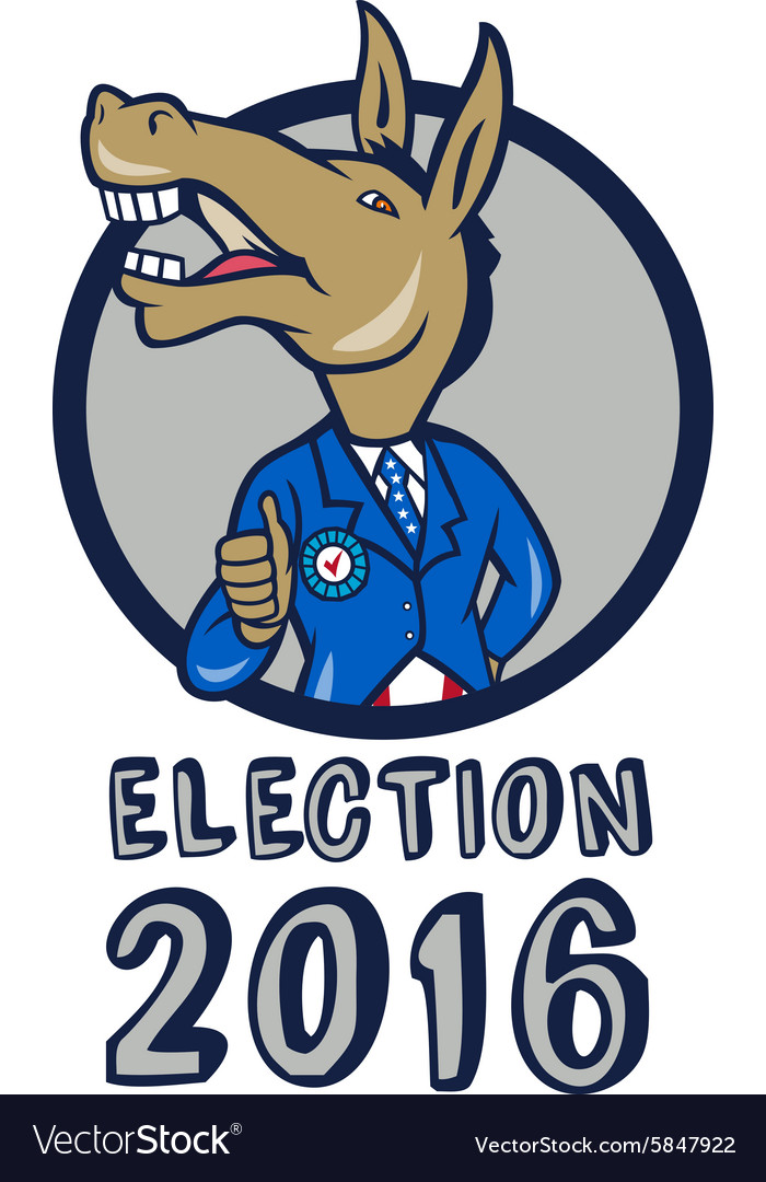 Election 2016 democrat donkey mascot circle vector