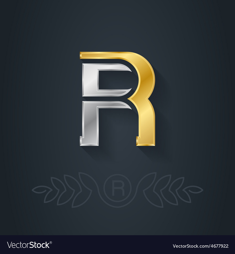 Elegant gold and silver font letter r template for vector
