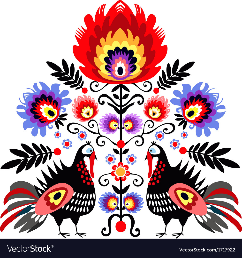 Folk embroidery with turkeys vector