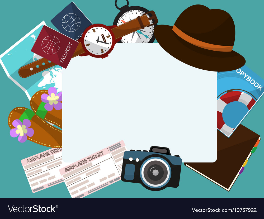 Frame with a hat tickets passports and other items vector