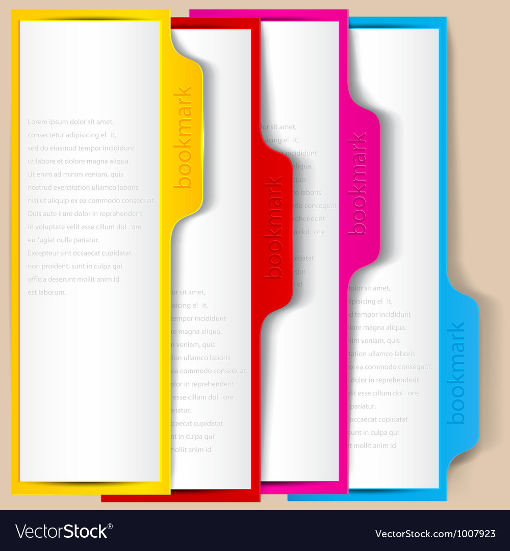 Colorful bookmarks and banners with place for text vector