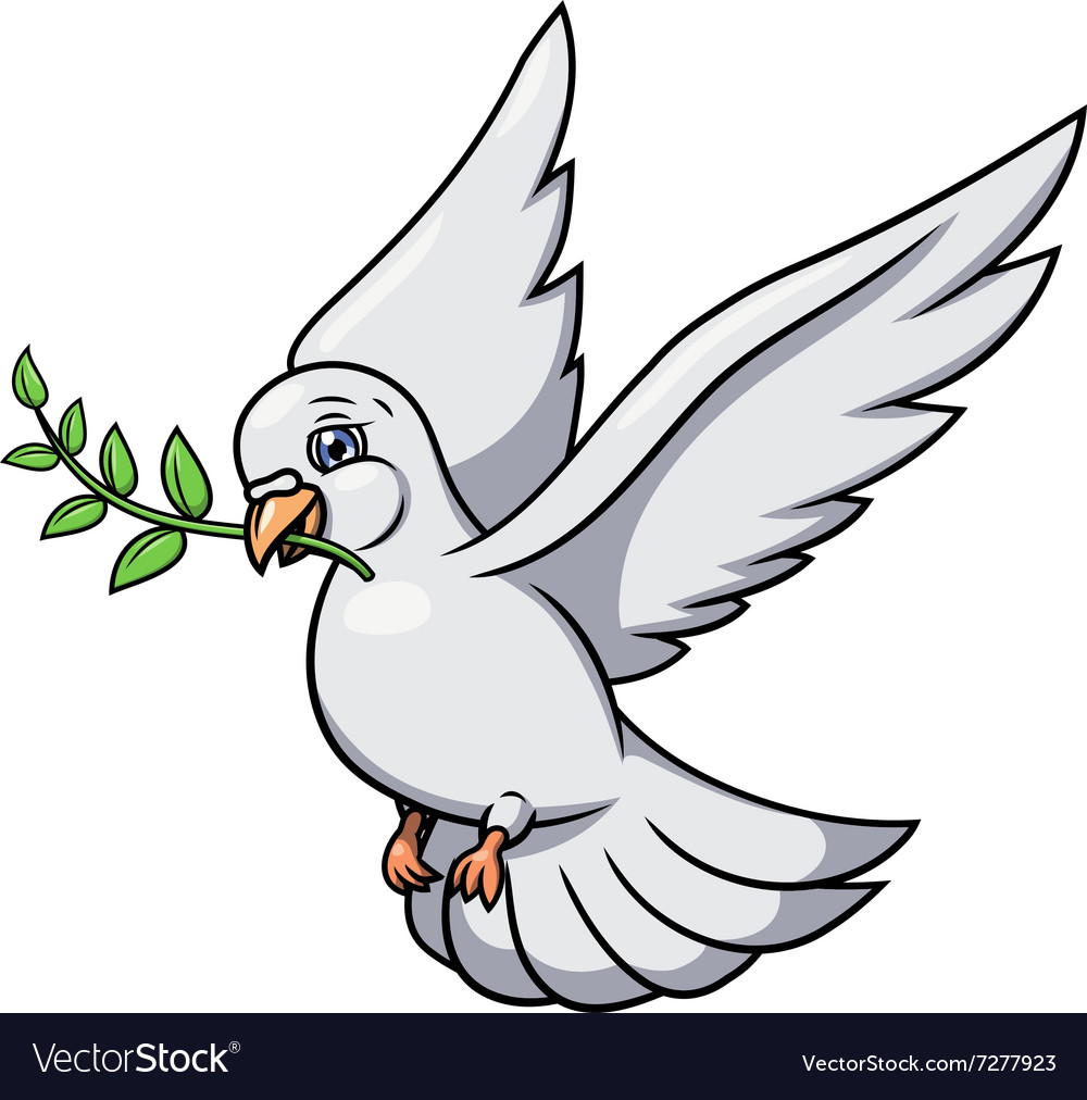 Dove with olive branch 2 vector