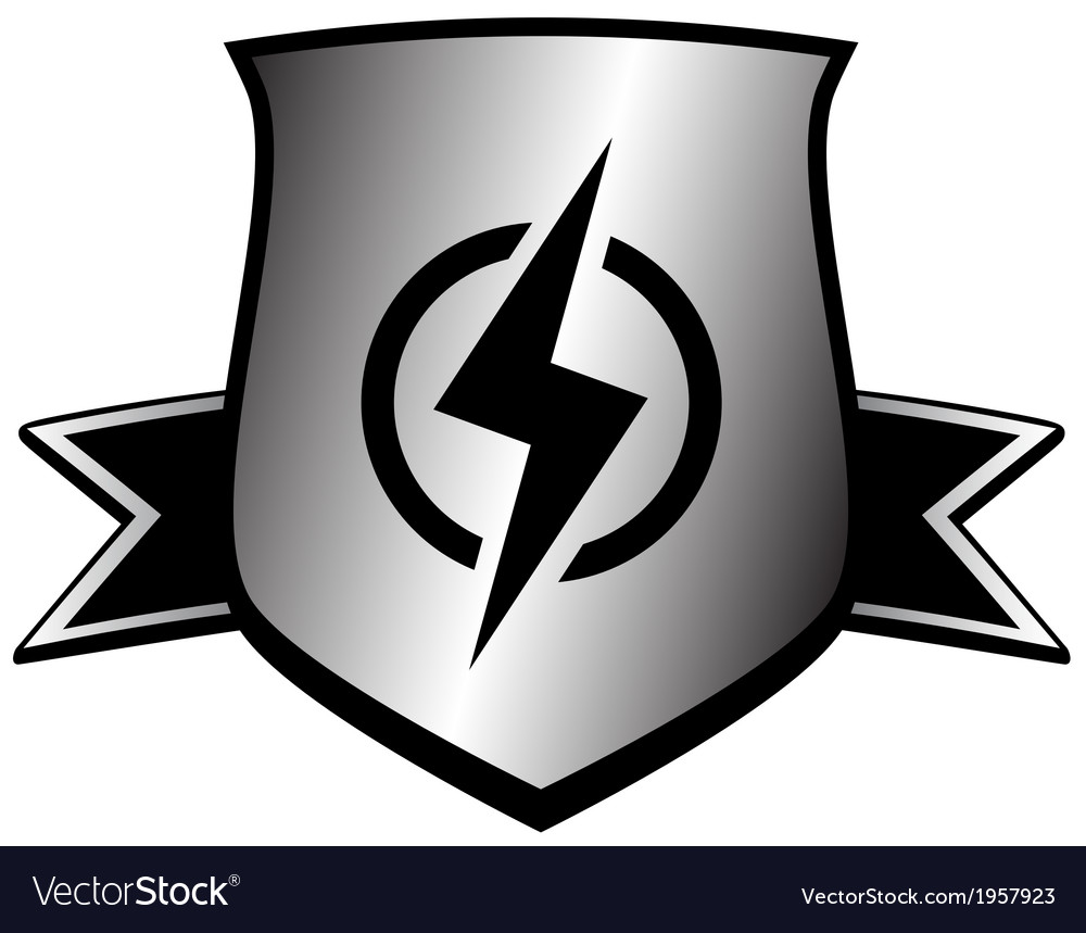 Shield with lightning  power symbol vector