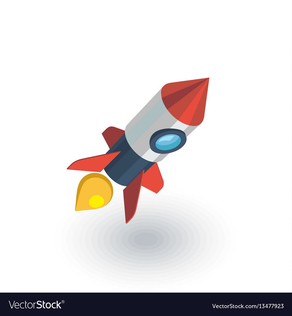 Startup rocket launch isometric flat icon 3d vector