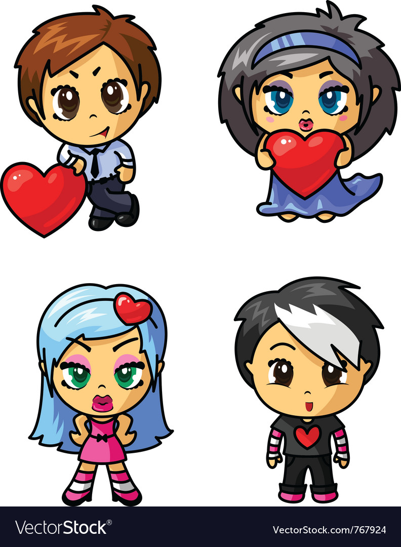 Cute chibi icons set with valentine symbol part 3 vector