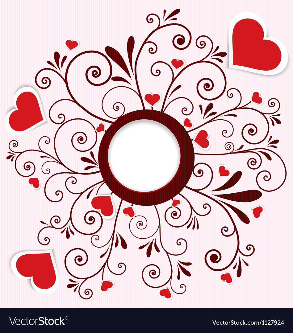 Heart stickers swirl frame vector
