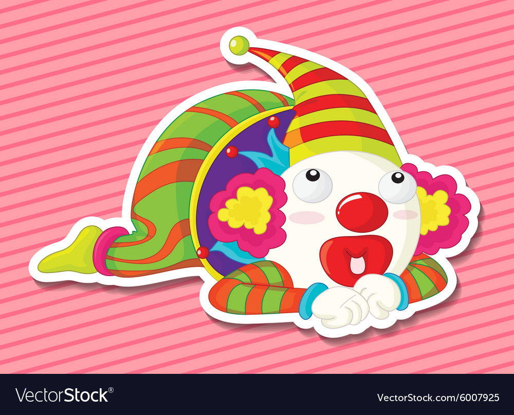 Clown wearing make up and colorful costume vector