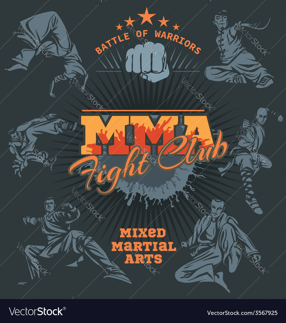 Mma labels  mixed martial arts design vector