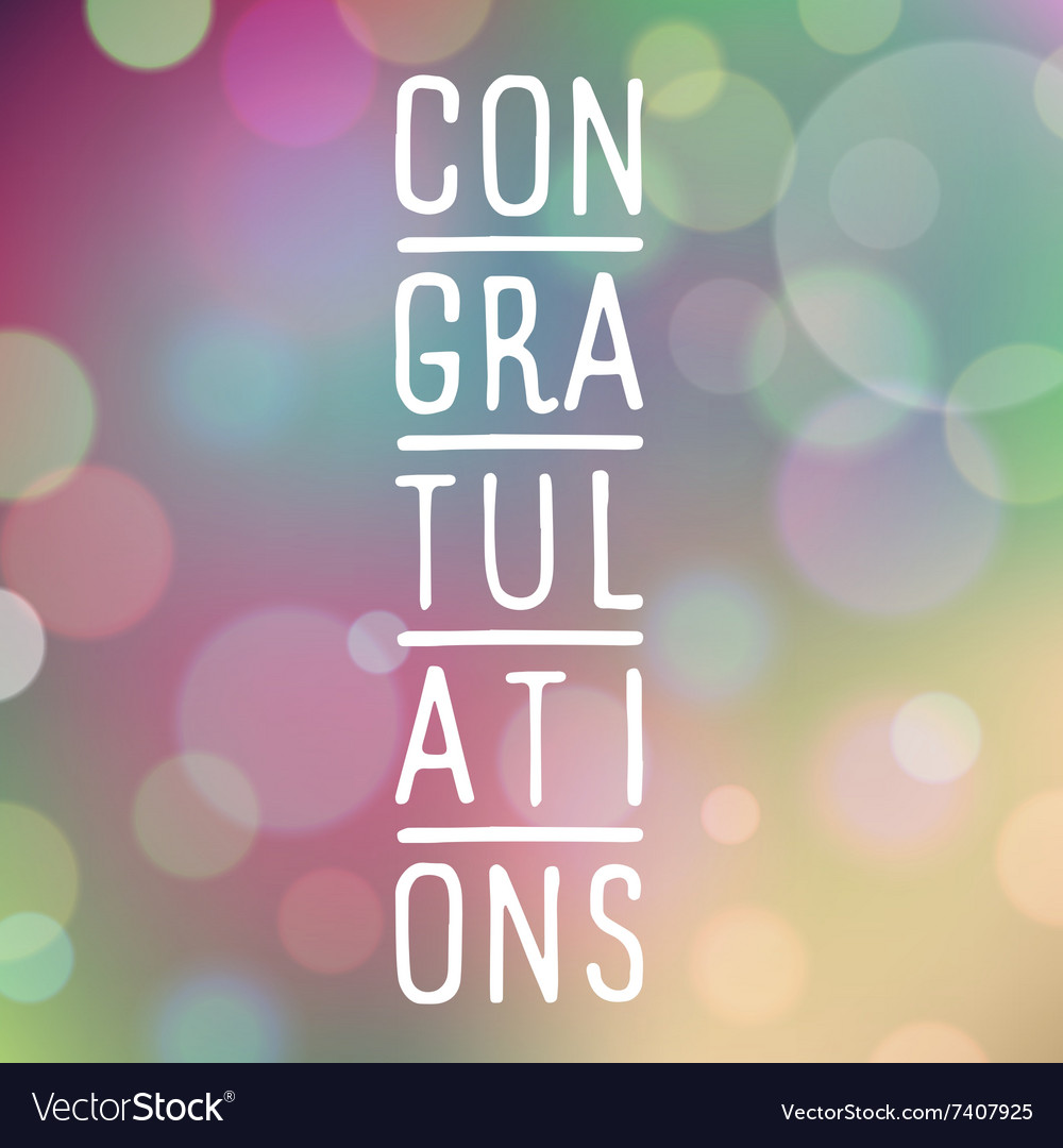 Slogan bokeh congratulations purple vector