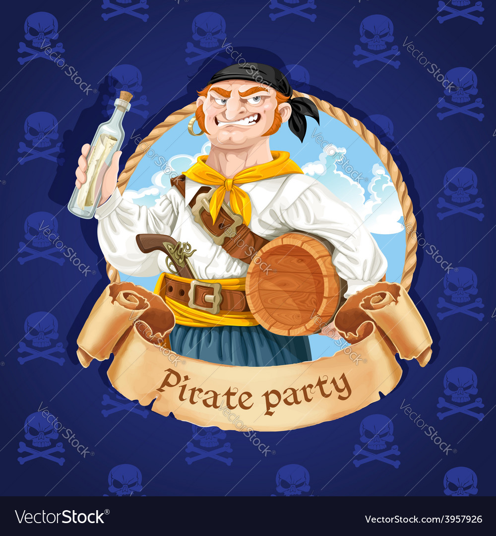 Cute boatswain with a barrel banner for pirate vector