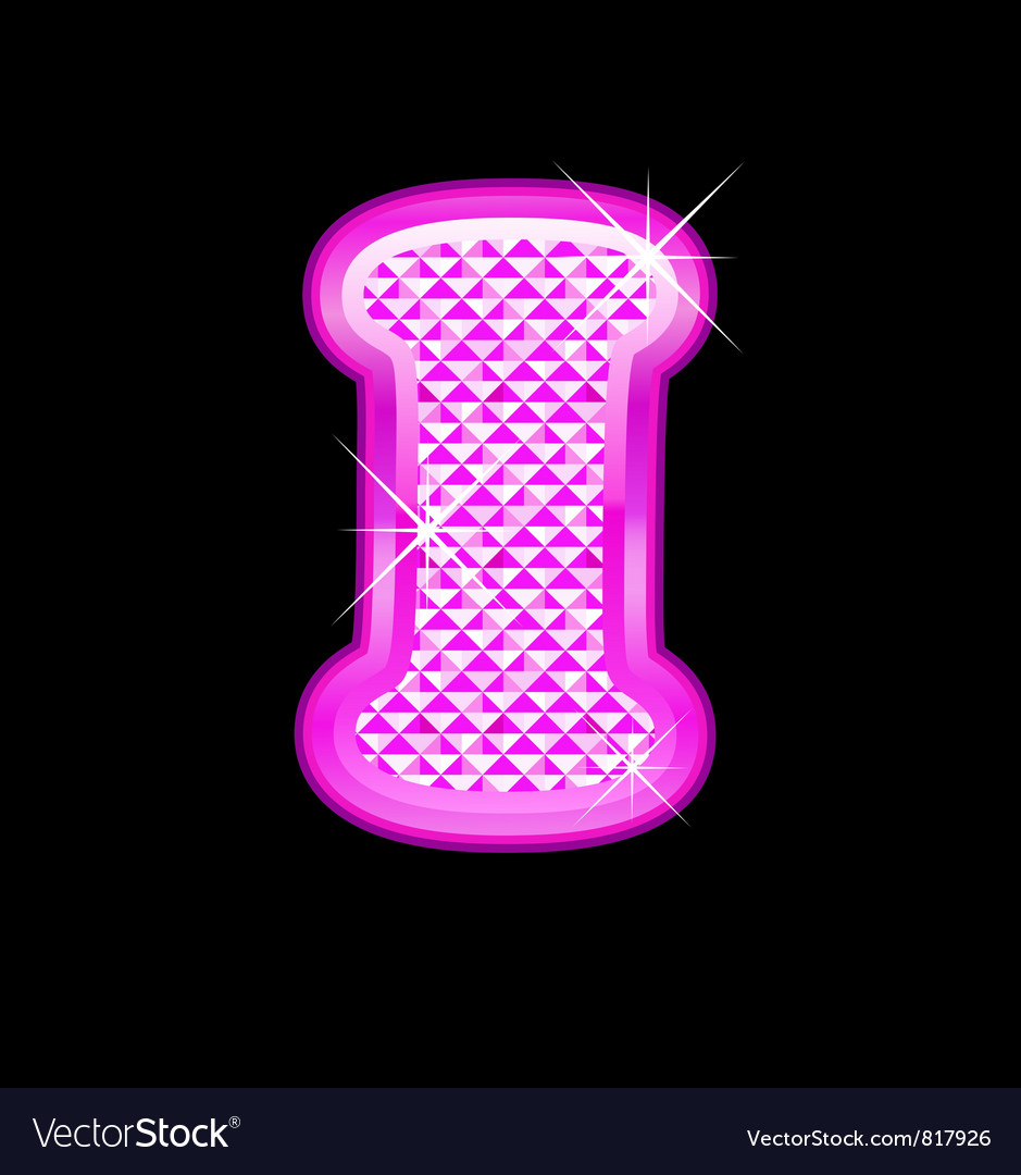 I letter pink bling girly vector