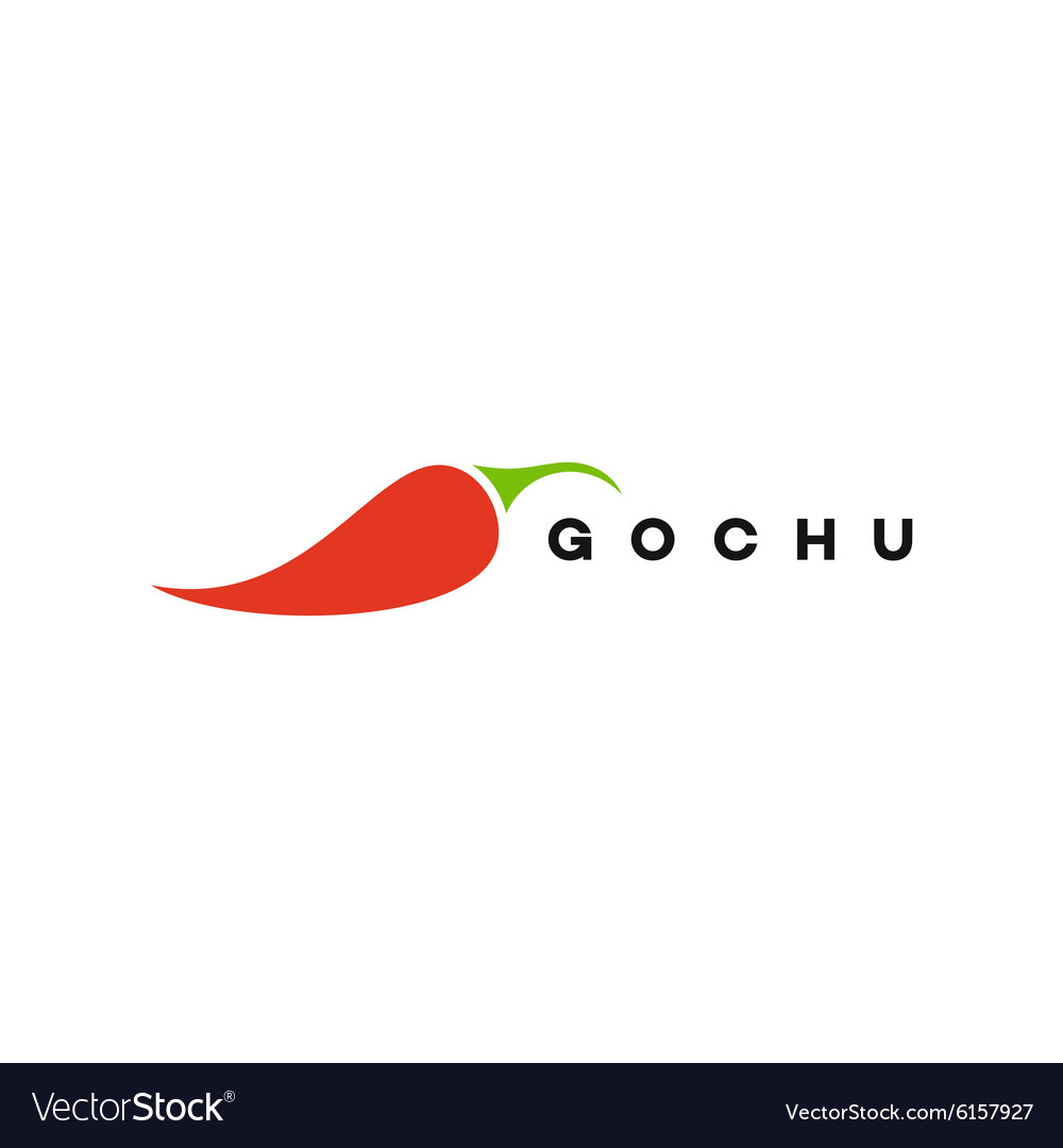 Red pepper logo gochu fully vector