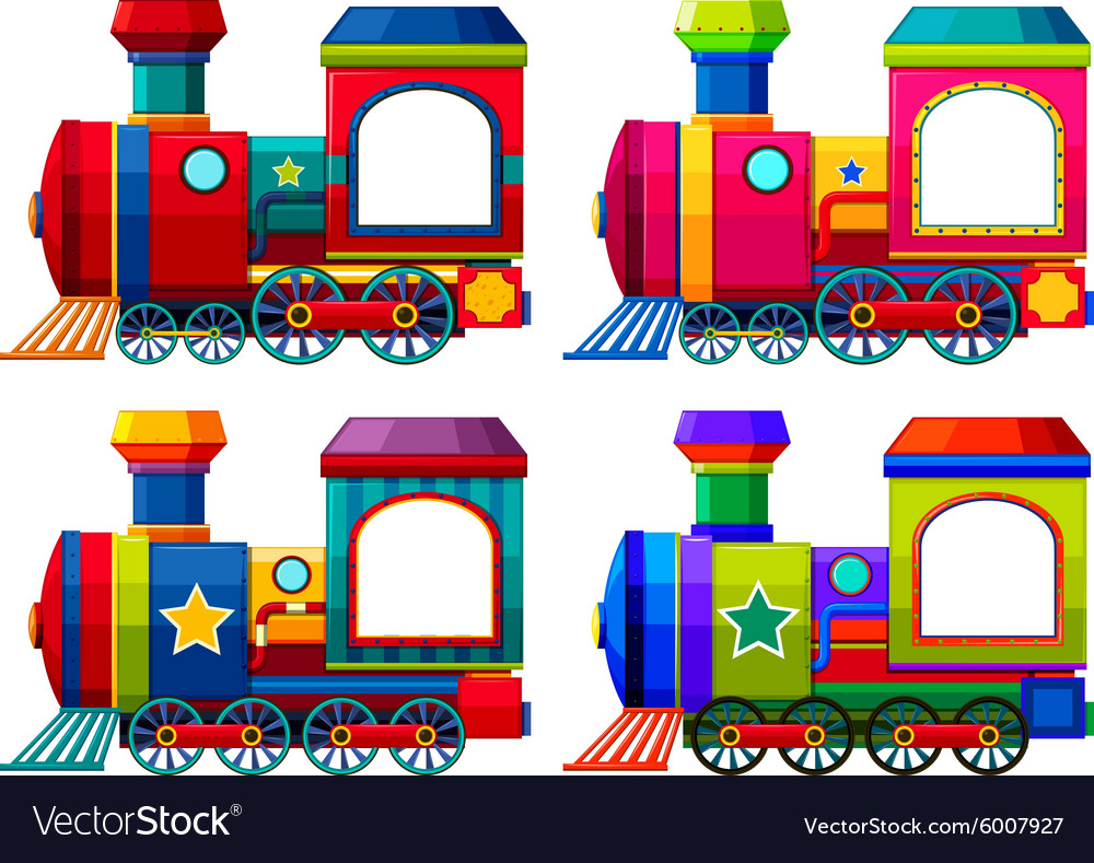 Trains in different colors vector