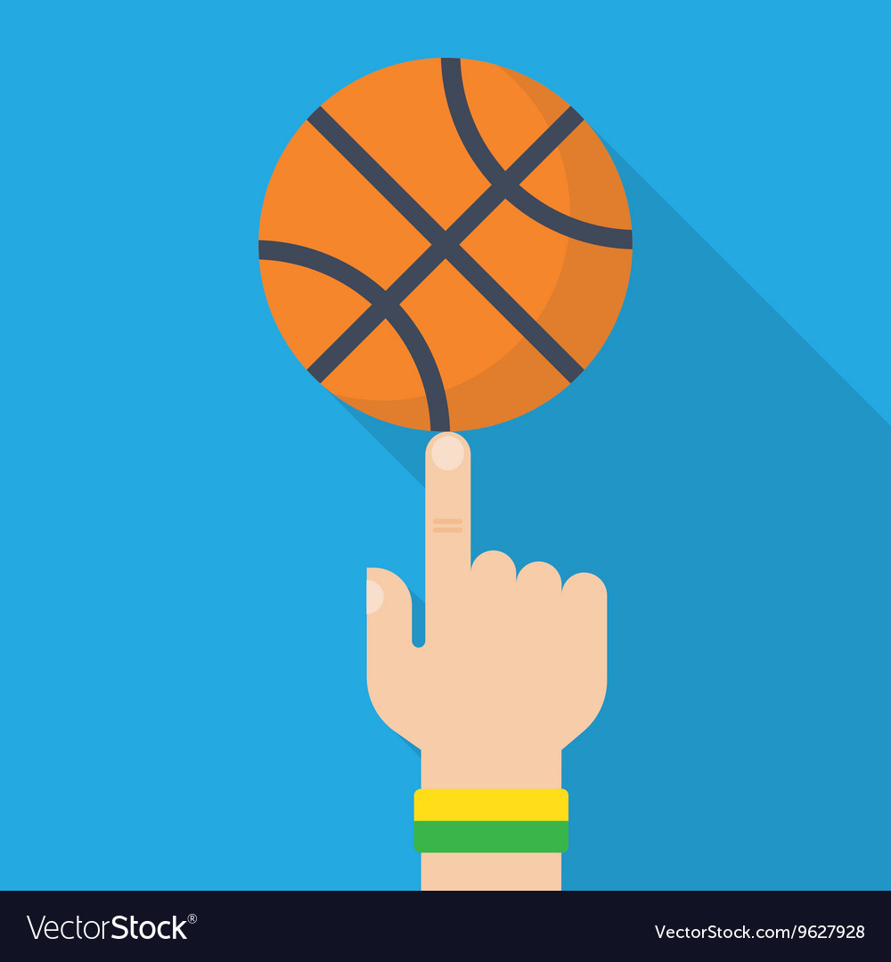 Basketball ball on the finger drawing vector