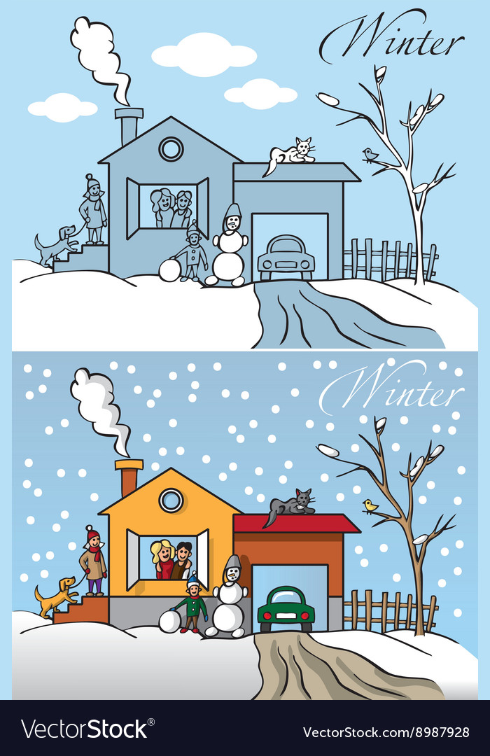Family winter house vector