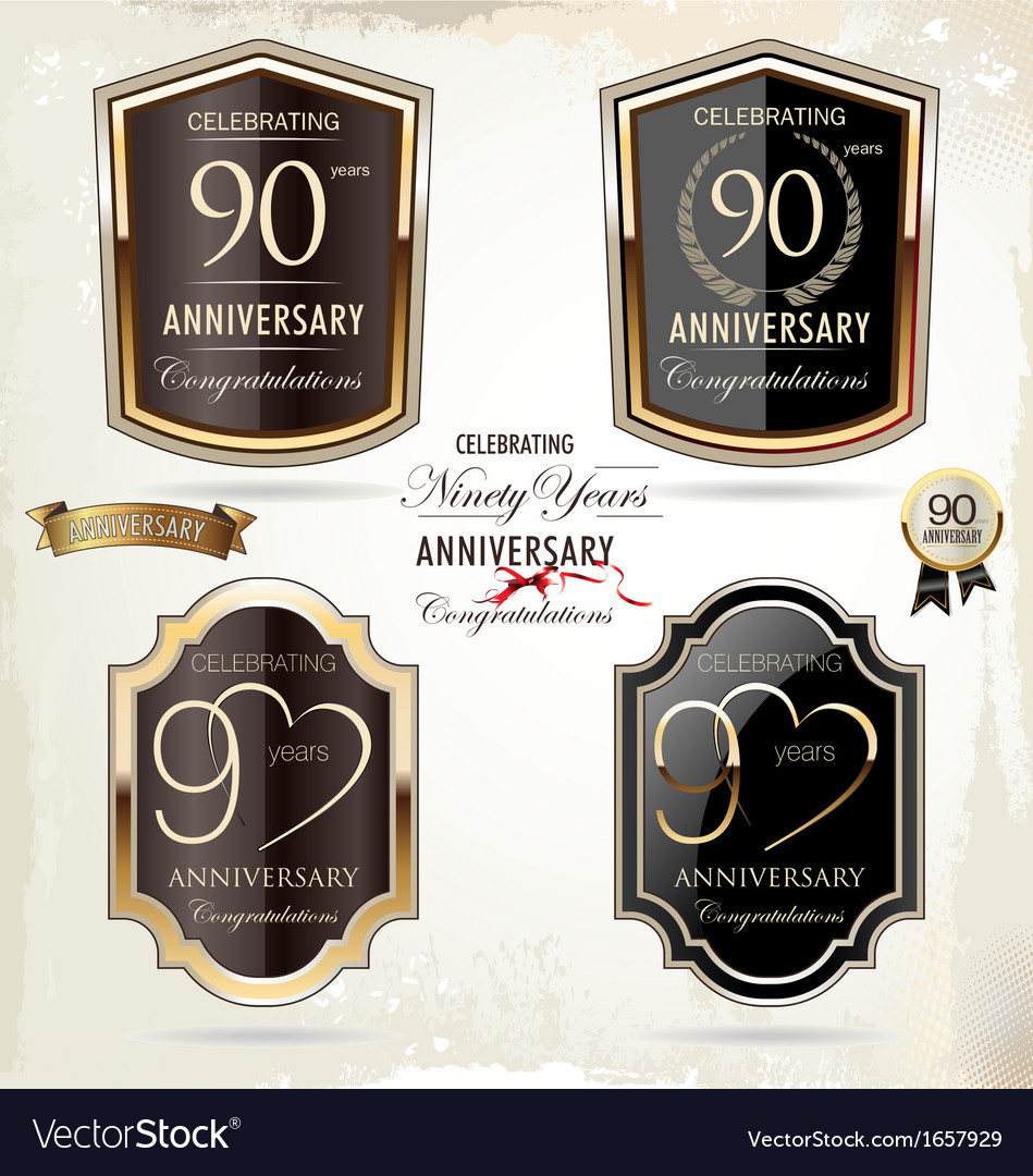 90 years anniversary labels vector