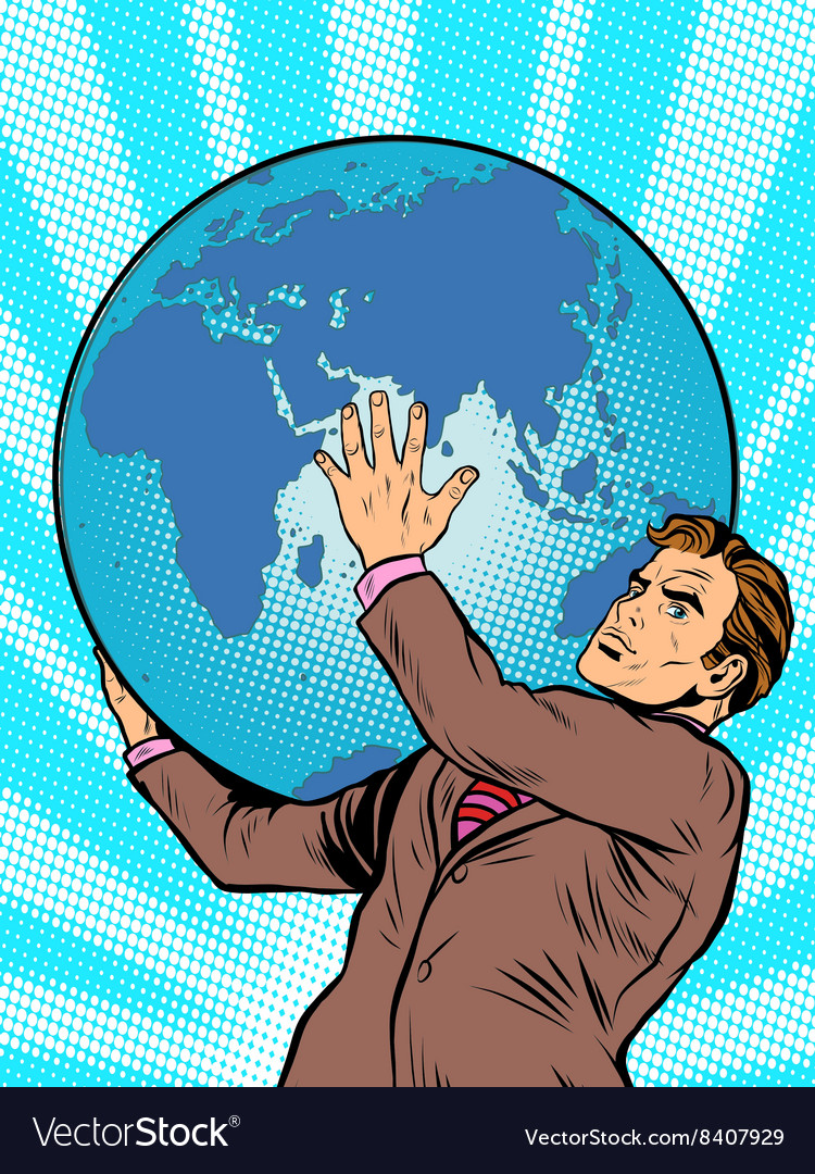 Businessman titan atlas holds the earth vector