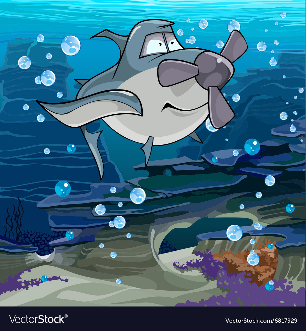 Cartoon fish shark with a propeller swimming vector