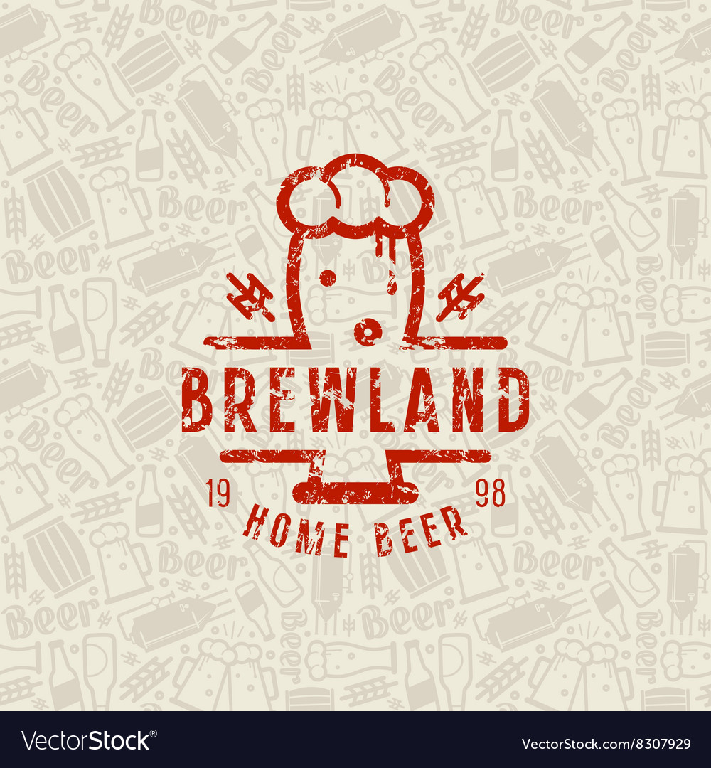 Craft beer brewery seamless pattern and emblem vector