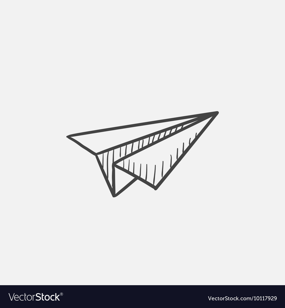 Paper airplane sketch icon vector