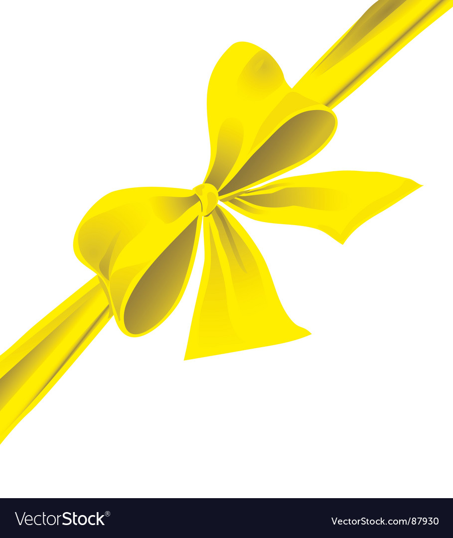 Big bow of yellow ribbon vector
