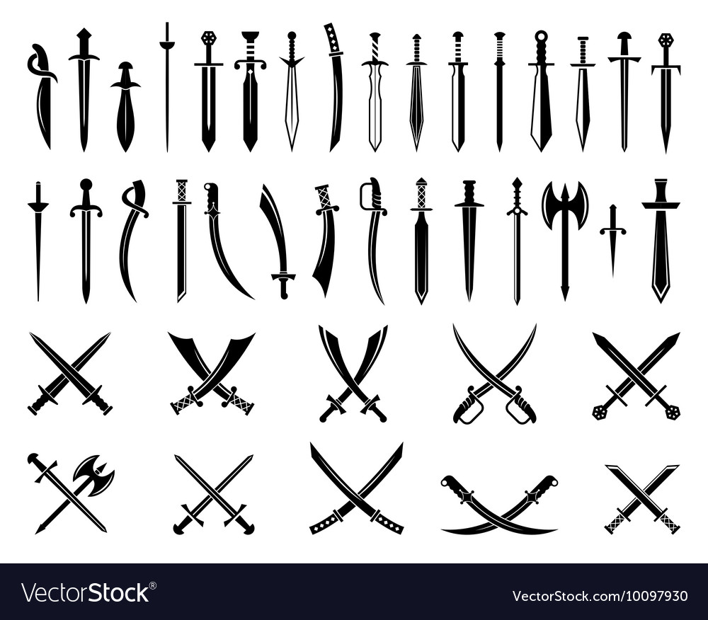 Sword icons set ancient swords signs and vector