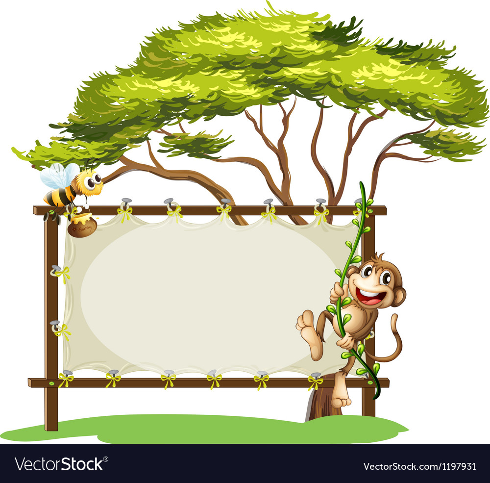 A monkey and the bee beside the empty signage vector