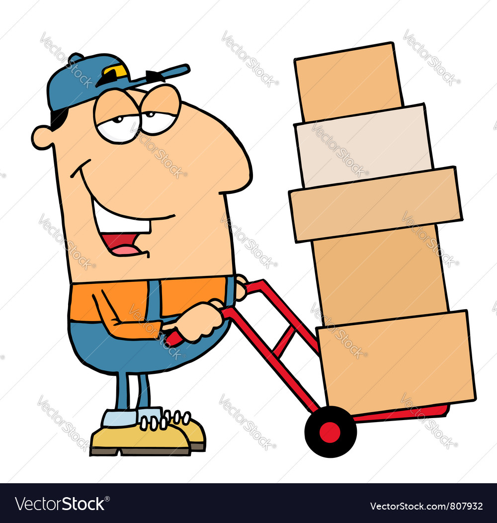 Delivery guy moving boxes vector