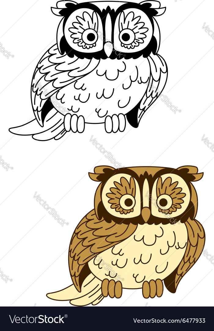 Brown and colorless cartoon owl bird mascot vector