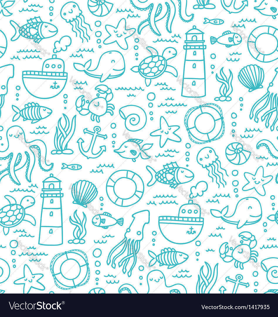 Sea doodles vector