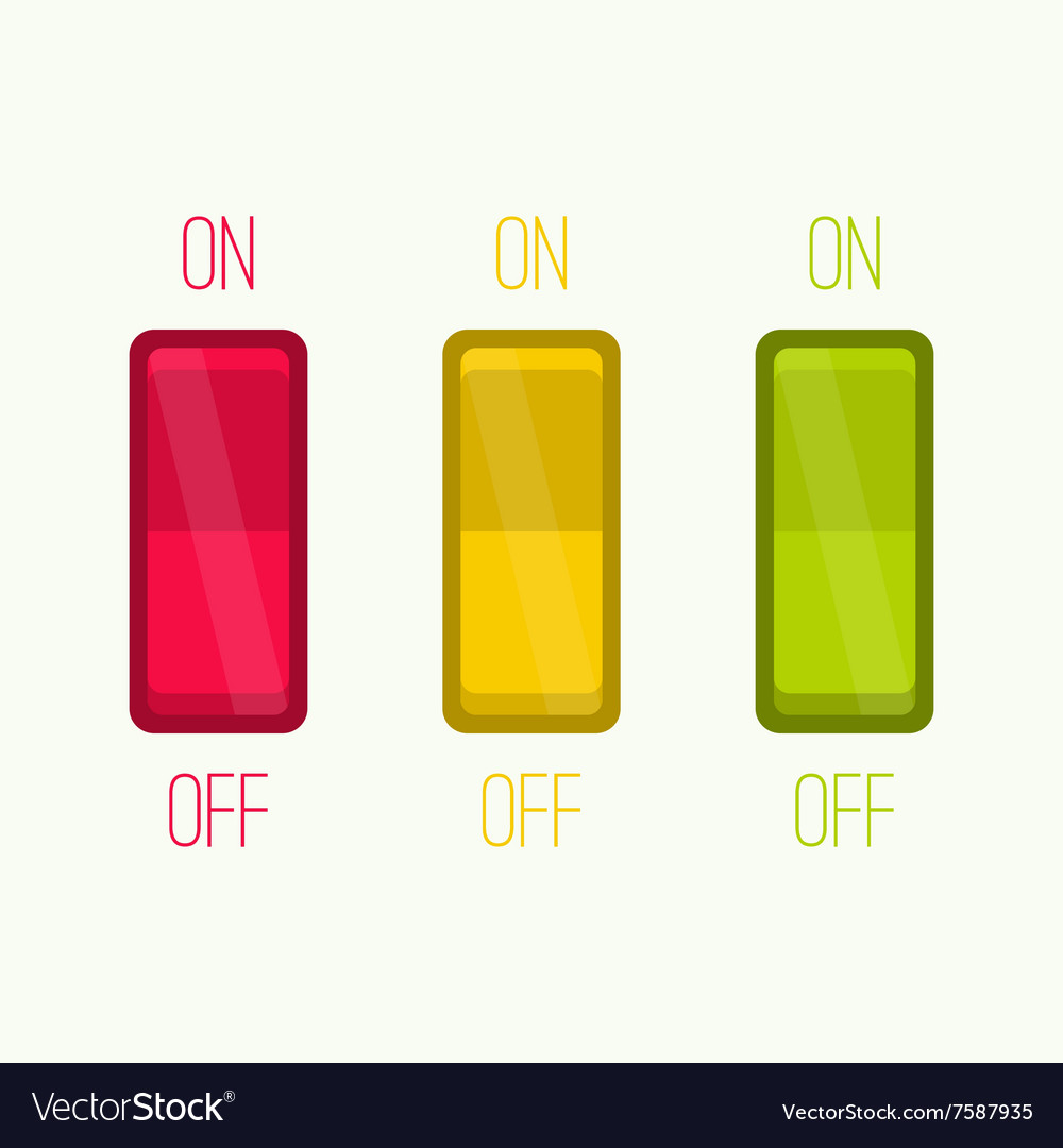 Wall switch on off position vector