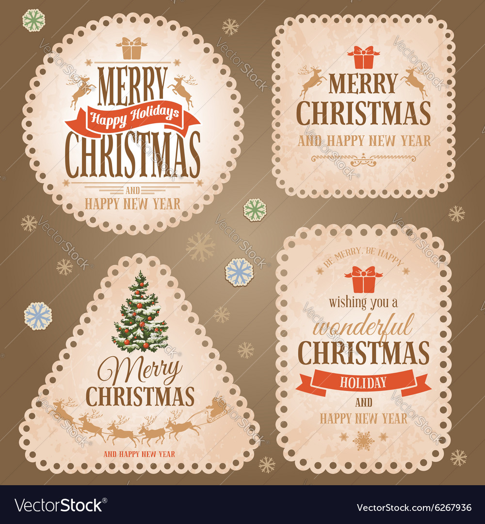 Christmas retro labels vector