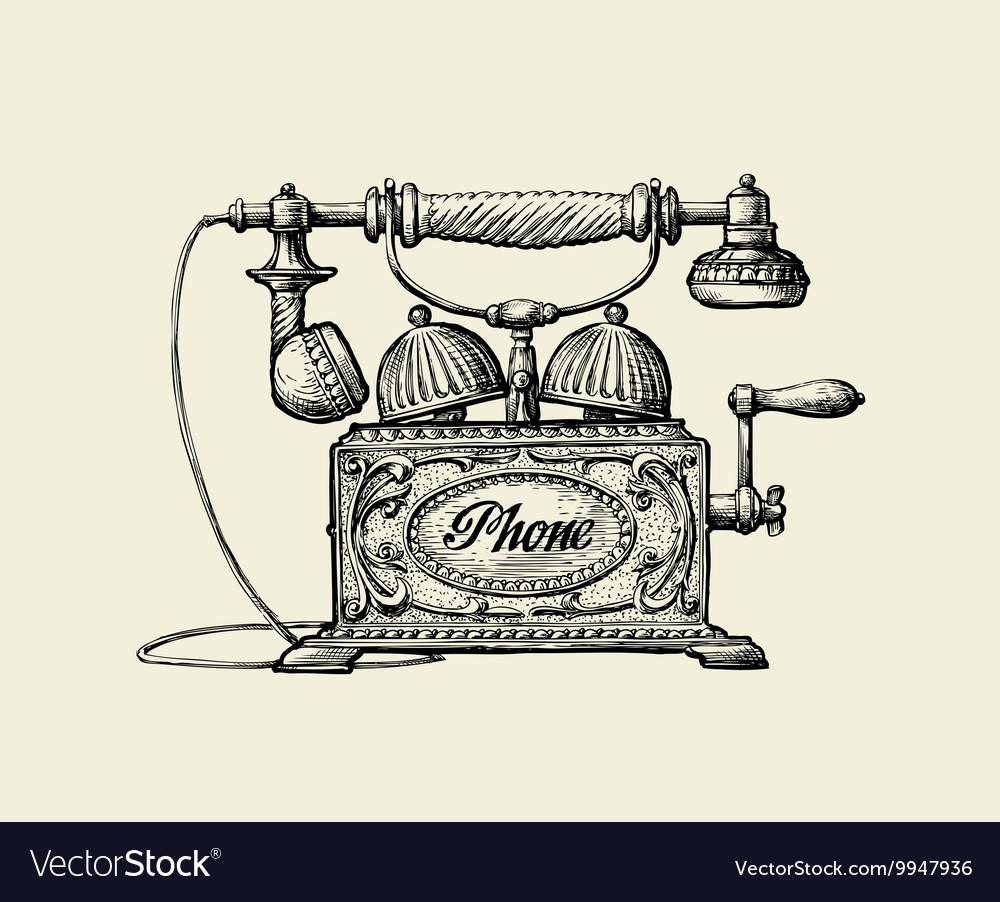 Vintage telephone handdrawn sketch retro phone vector
