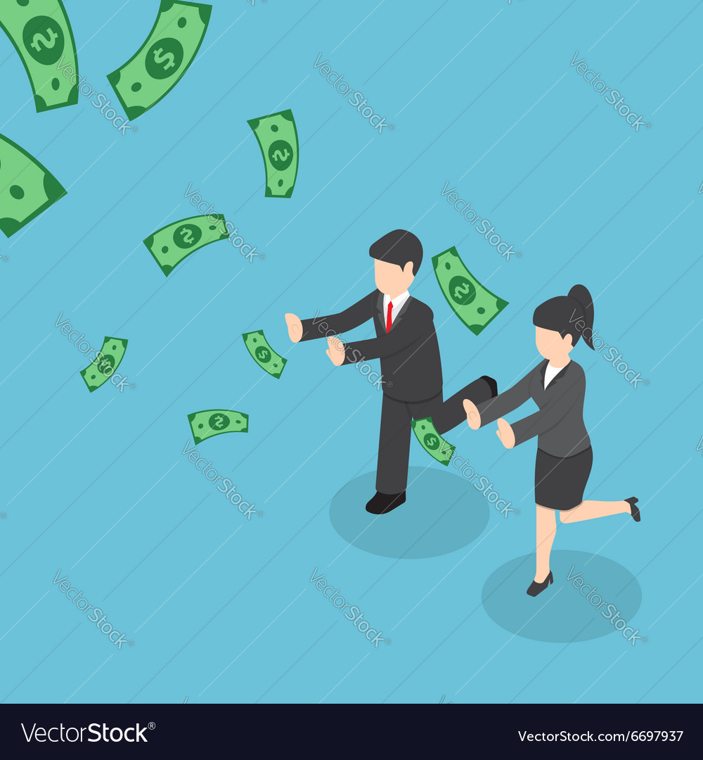 Business people chasing falling dollar money vector