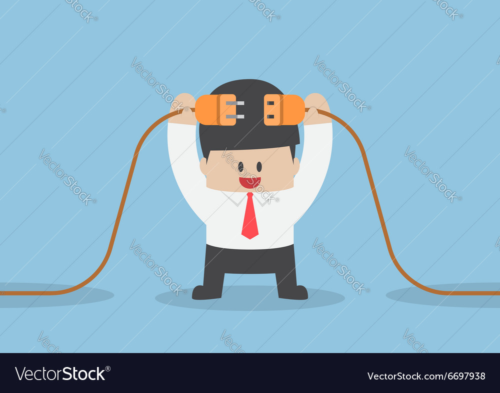 Businessman connecting a electric plug vector