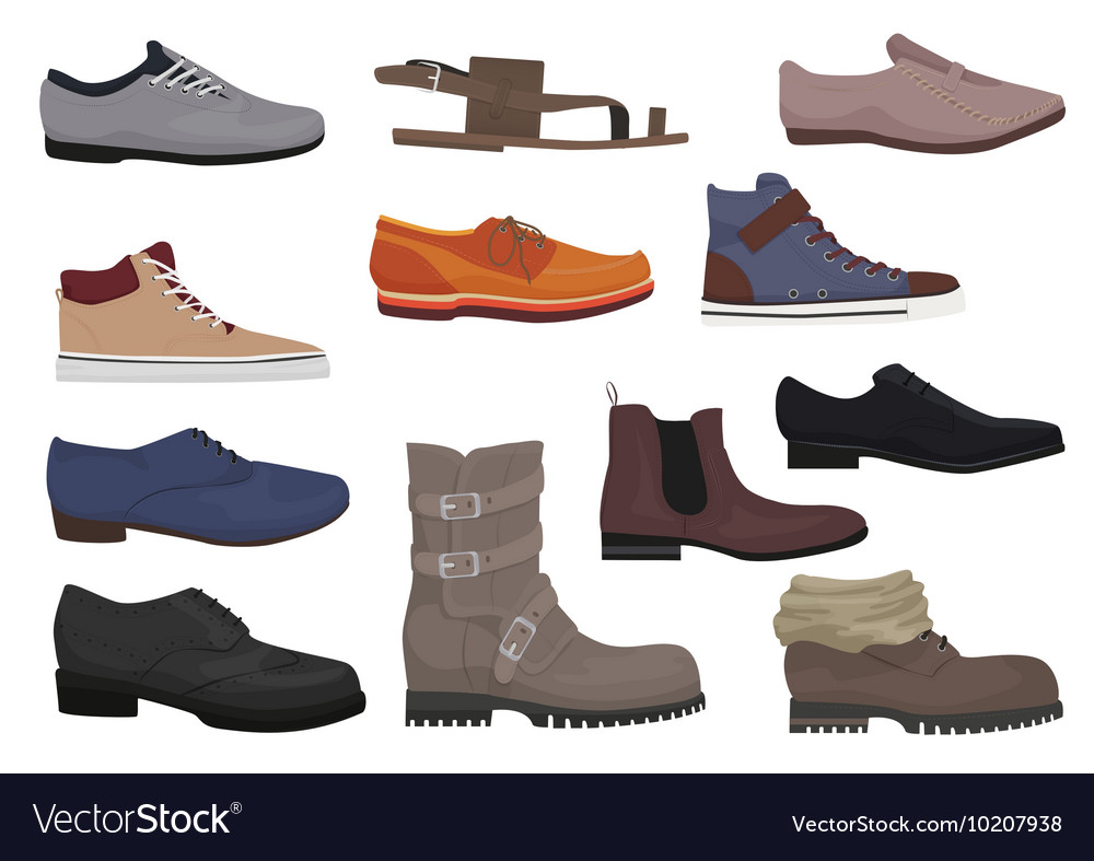 Men boots isolated set male man season shoes vector
