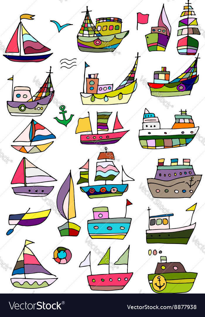 Set of ships sketch for your design vector