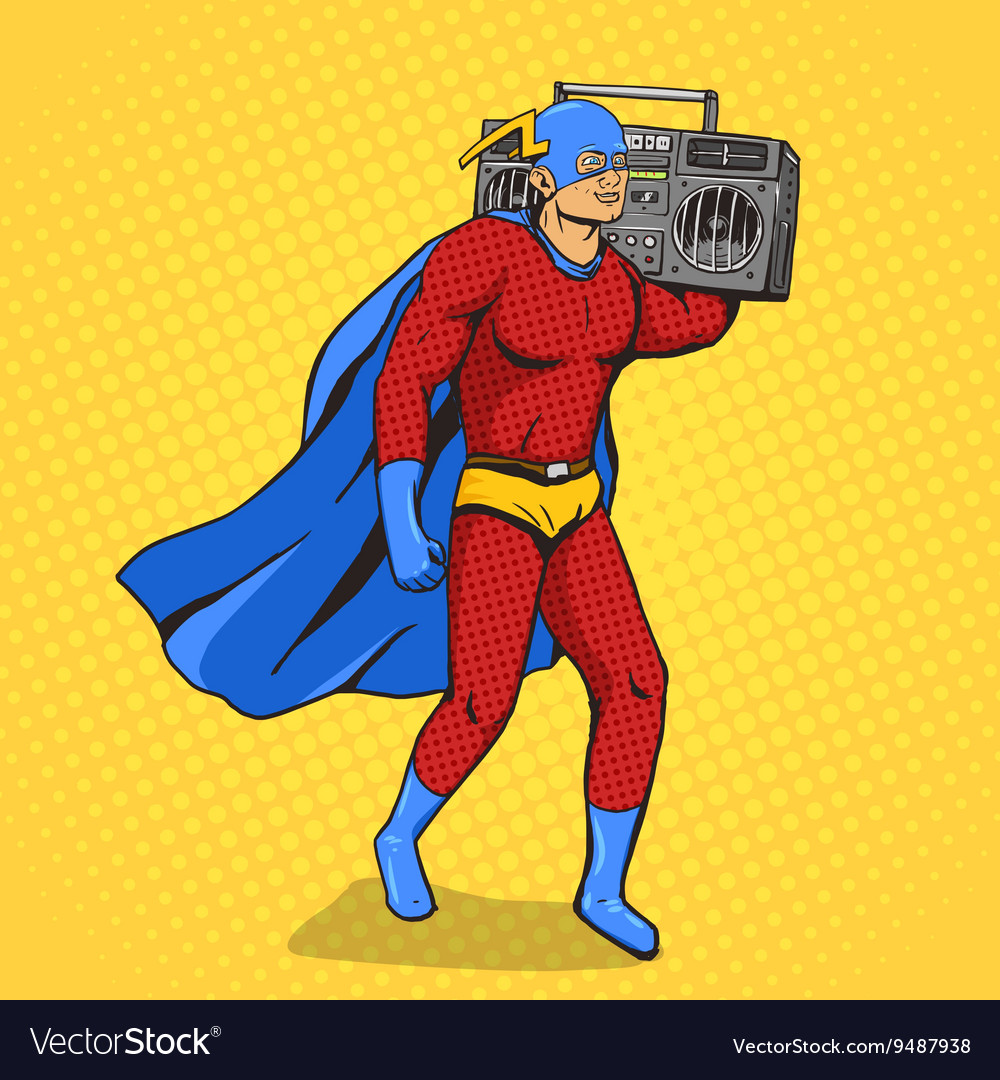 Superhero with radio cassette player vector