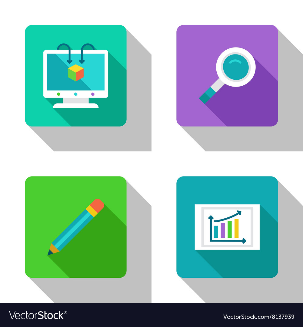 Analysis and research flat icons vector