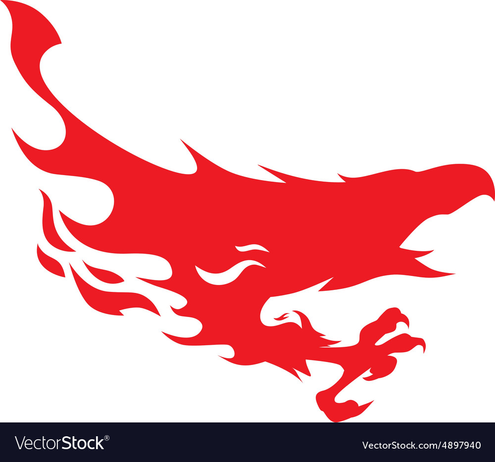 Silhouette of a flying phoenix vector